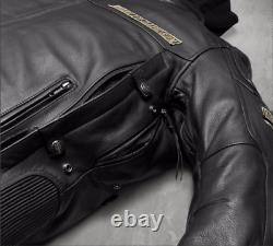 Harley Davidson Men's UPTON B&S Reflective Black Leather Jacket S M L 97154-17VM