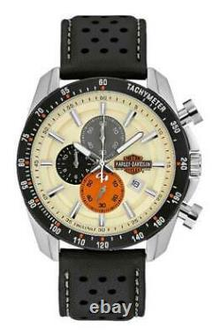 Harley-Davidson Men's Vintage B&S Chronograph Watch with Leather Strap 78B154