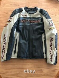 Harley Davidson Men's White & Black Leather Racing Jacket Size 3XL Big & Tall