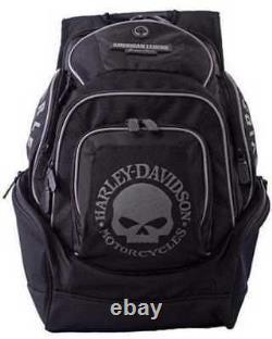 Harley-Davidson Men's Willie G Black & Gray Skull Deluxe Backpack BP1924S