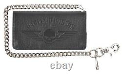 Harley-Davidson Men's Willie G Skull Chain Bi-Fold Leather Wallet US1660L-BLACK