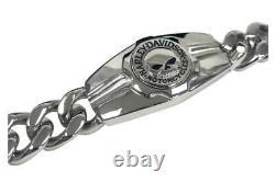 Harley-Davidson Men's Willie G Skull Logo Steel Chain Bracelet, Silver HSB0202