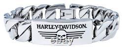 Harley-Davidson Men's Willie G Skull Steel ID Curb Link Bracelet HSB0140