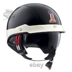 Harley-Davidson Mens #1 Logo J03 Black Half Helmet with Sun Shield 98370-19VX