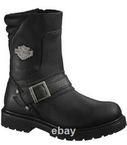 Harley-Davidson Mens 8.25 Booker Black Leather Motorcycle Riding Boots D95194