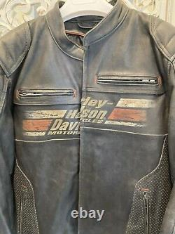 Harley-Davidson Mens ASTOR Leather Jacket X-Large 97122-16VM Distressed