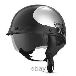 Harley-Davidson Mens Big Twin Chrome J03 Black Half Helmet 98280-19VX