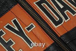 Harley Davidson Mens Black Orange Classic Riding Leather Jacket L 98014-10VM New