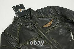 Harley Davidson Mens DETONATOR B&S Black Leather Jacket L XL XLT 2XL 98076-15VM