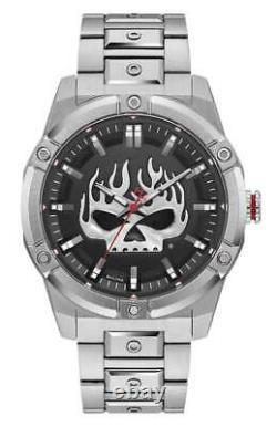 Harley-Davidson Mens Flaming Willie G Skull Stainless Steel Watch, Silver 76A164