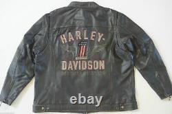 Harley Davidson Mens LONGWAY Wings 1 Vintage Black Leather Jacket S M 98089-15VM