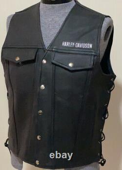 Harley Davidson Mens PISTON II Black Thick Leather Vest Xl