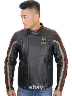 Harley-Davidson Mens SLIM Arterial #1 Reflective Black Leather Jacket 98001-20VM