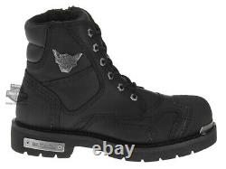 Harley-Davidson Mens Stealth Black Leather Lace-Up Motorcycle Boots D91642