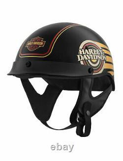 Harley-Davidson Mens Ultra M04 B&S Gold Graphics Black Half Helmet