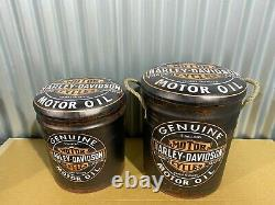 Harley Davidson Motor Oil Motorcycles Premium Stools Storage Set Of 2 Man Cave
