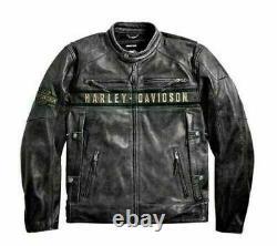 Harley Davidson Motorcycle Jacket Cafe Racer Black Cow Hide Biker Leather Jacket
