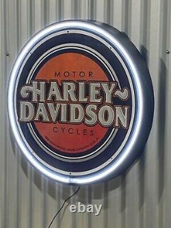 Harley Davidson Motorcycles 680mm Diameter Neon Sign Perfect Hot Rod Man Cave