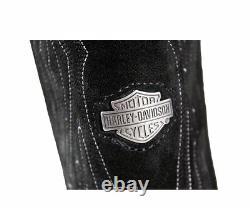 Harley Davidson New Galen Black Leather Biker Boots Rocks Western Cowboy