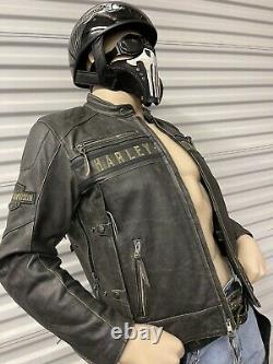Harley-Davidson PASSING LINK Mens Distressed Black Leather Jacket X-Large
