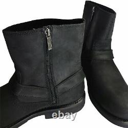 Harley Davidson Scout Black Leather Motorcycle Boots Size 12 Side Zip Up D95262