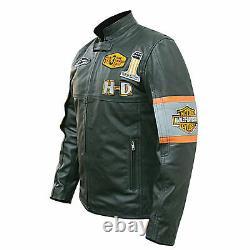 Harley Davidson Screaming Eagle Motorcycle Motorbike Cowhide Leather Jacket