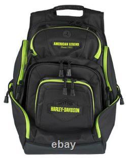 Harley-Davidson Sculpted Bar & Shield Lime Deluxe Backpack, Black BP2000S-LIMBLK