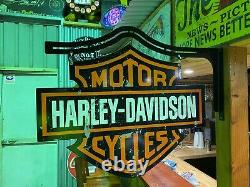 Harley Davidson Shield Metal Sign With Hanger Dbl Sided Bar Man Cave Hot Rod