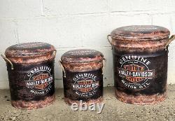 Harley Davidson Stool Retro Metal Storage Drum Bar Man Cave Seat Ottoman