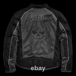 Harley Davidson Willie G Skull Mens Mesh Motorcycle Jacket L-Large 98092-15VM