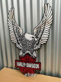 Harley Davidson Wings & Shield Embossed Tin Sign Bar Man Cave Hot Rod
