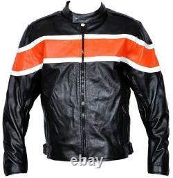 Harley Leather Style Jacket Motorbike Bike Rider CE Protection Motorcycle Jacket