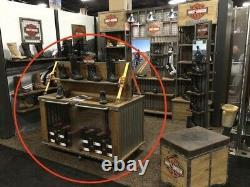 Harley Man Cave, Rolling Bar Garage, Shop Footwear Table Shelving Unit