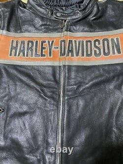 Harley Men's Victory Lane Leather Jacket Racing Design. L