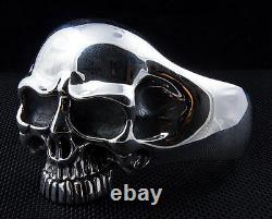 Heavy Phantom Skull 925 Sterling Silver Mens Cuff Bracelet Rider Biker Harley