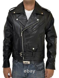 Highway One Black Leather Biker Jacket XL Size 48 Extra Large Harley Rider