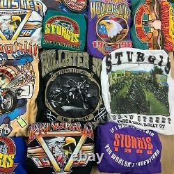 Lot 34 vintage t-shirts harley davidson biker 90s wholesale reseller bundle usa
