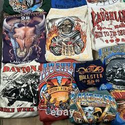 Lot 36 vintage t-shirts biker rally 90s wholesale reseller usa harley davidson