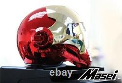 Masei 610 Gold/Red Chrome Plating Atomic-Man Motorcycle Harley Chopper Helmet