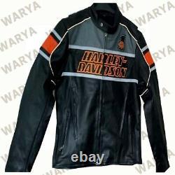 Men HD Biker Style Harley Motorcycle Motorbike Cowhide Leather Jacket