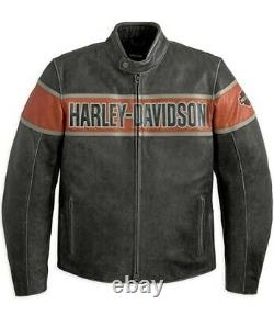 Men Real Cowhide Harley Davidson Victory Lane Motorcycle Cracker Leather Jacket