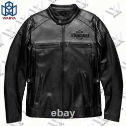 Men Real Genuine Cowhide HD Harley Davidson Motorcycle Biker Real Leather Jacket