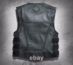 Men Swat II Genuine Leather Harley Vest Zippered Biker Cafe Racer Black