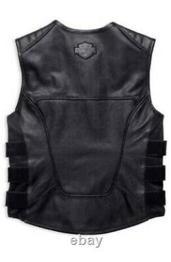 Men Swat II Genuine Leather Vest Zippered Biker Cafe Racer Black Harley All Size