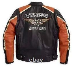 Men's Black-Orange With Harley Davidson Patches Leather Jacket