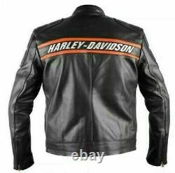 Men's Cowhide WWE Goldberg Bill Harley Davidson Motorcycle Biker Leather Jacket