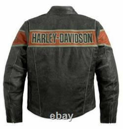 Men's HARLEY DAVIDSON Victory Lane Leather Jacket Men's biker jacket warm jacket