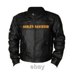 Men's HD Black Biker Harley Distress Motorcycle Cowhide Leather Jacket