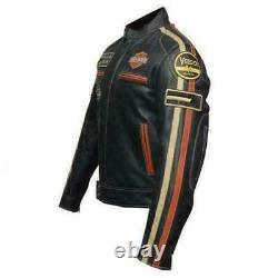 Men's Harley Davidson Motorcycle Retro Vintage Biker Real Leather Jacket Coat