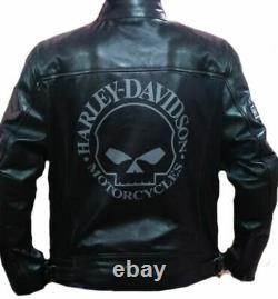 Men's Harley Davidson Motorcycle Vintage Biker Black Genuine Leather Jacket